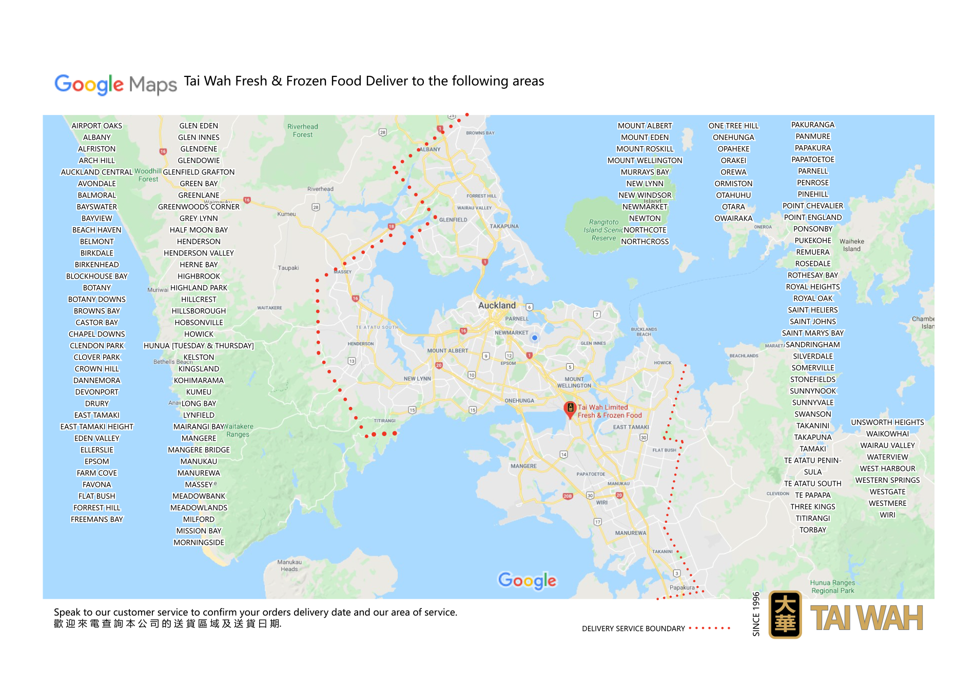 TW delivery areas
